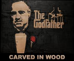 the godfather poster carved in wood 4 steps with pictures
