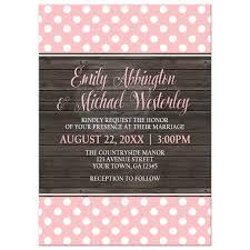 polka dot wedding invitations invitations blush pink polka dot rustic wood