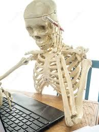 Skeleton Computer Meme - image skeleton at a computer book of shadows meme jpeg corpse