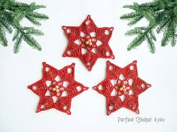 crochet decoration poinsettia tree ornaments