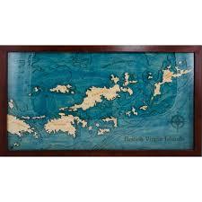 Bvi Flag British Virgin Islands Wooden Map Art Topographic 3d Chart