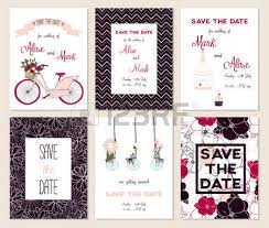 collection of 6 cute card templates wedding marriage save