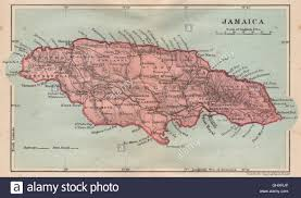 Map Of West Indies Jamaica Vintage Map West Indies Caribbean 1914 Stock Photo