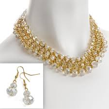 gold earrings necklace images Gold colour woven wire glass crystal layered earrings necklace set jpg