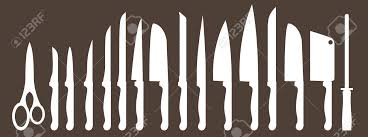 different types of kitchen knives different types of kitchen knives vectors set royalty free