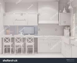 3d illustration interior design beautiful kitchen stock