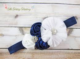 white and blue headband navy blue and white headband satin chiffon flowers w