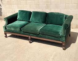 american heritage leather sofa vintage furniture etsy