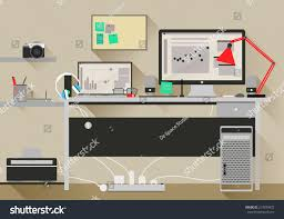 flat design vector modern office interior stock vector 217830472