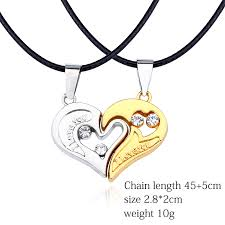 heart leather necklace images Fashion couple jewelry i love you puzzle heart necklace hollow jpg