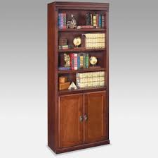 Cherry Bookcase With Glass Doors Furniture Solid Wood Bookcase Design With Storage Underneath