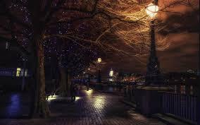 landscape urban lantern london england river trees night