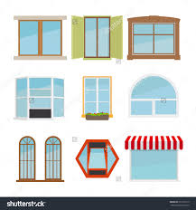 vector flat window set glass design elemen icon architecture save