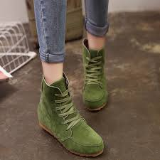womens boots green leather 2016 autumn winter boots solid european shoes