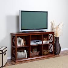 small modern flat screen tv console table with bookshelf and