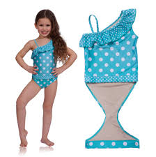 ruffle girl bathing suits one polka dot opens for easy potty