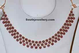 emerald ruby necklace images Ruby necklace studded with emeralds jewellery designs ruby jpg