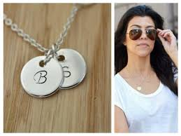monogram disc necklace sterling silver initial disc necklace monogram disc necklace