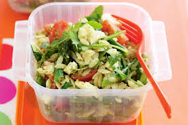 pesto feta and risoni salad