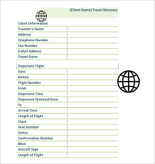 Free Travel Itinerary Template Excel Flight Plan Template Flight Travel Itinerary Schedule Template