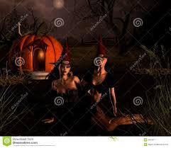 halloween witches scene royalty free stock photography image