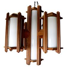 frank lloyd wright style wooden chandelier chairish