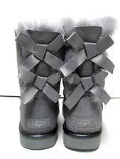 s grey boots uk ugg australia bailey bow ii metallic geyser grey boots us 6 eu 37