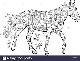 coloring page in zentangle inspired style running horse ornate by