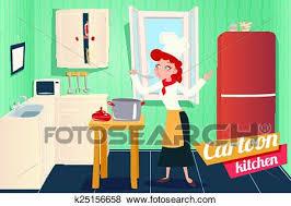 cuisine dessin animé clipart dessin animé appartement cuisine intérieur maison