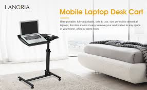 Laptops Desk Langria Laptop Rolling Cart Table Height Adjustable