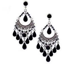 black chandelier earrings black enamel teardrop chandelier earrings 1928 polyvore