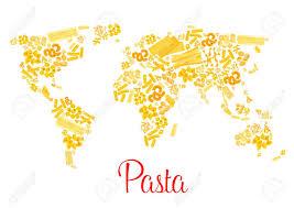 Vector World Map Pasta Or Italian Macaroni Vector World Map Royalty Free Cliparts