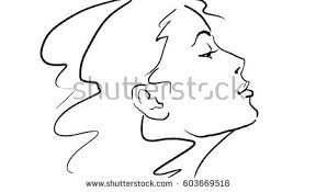 sketch womans profile beautiful blonde side stock illustration