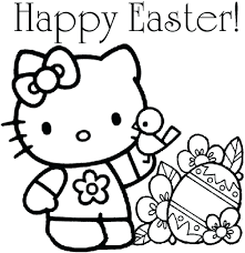 happy coloring pages ducks hunting eggs hello kitty easter