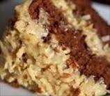 sugar free diabetic german chocolate cake with coconut pecan