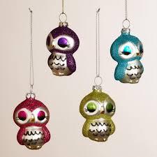 metal owl ornaments set of 4 world market