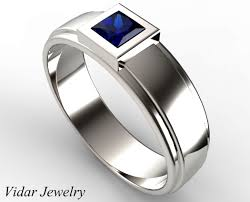 Mens Wedding Bands With Blue Sapphire