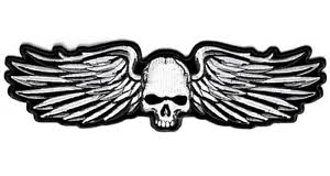 skull wings iron on embroidered 11 inch nomad biker patch ebay