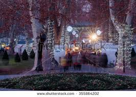 santa claus snowy winter alley park stock illustration 519475336