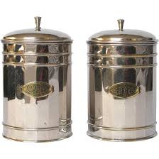 pair of vintage french chrome plated kitchen canisters coffee