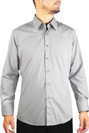 light grey dress shirt new slim fit amanti mens light grey silver solid dress shirt ebay