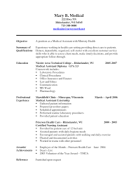 Professional Summary Resume Examples by Medical Assistant Resume Objective