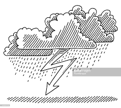 thunderstorm cloud lightning weather drawing vector art getty images