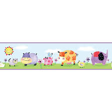 RoomMates Farm Animal Wall Sticker Borders Animal Borders Kids - Kids room wallpaper borders