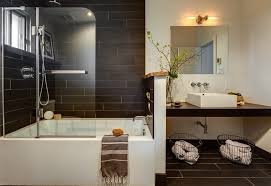 Bathroom Mirrors Montreal Metallic Porcelain Tile Powder Room Contemporary With Wall