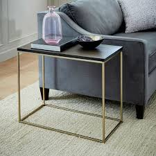 narrow side table streamline side table umber antique brass west elm