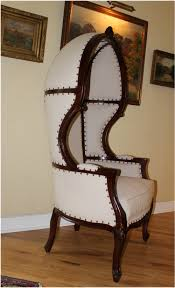antique off white dome porters chair dark mahogany french balloon