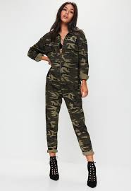 camouflage jumpsuit womens green camo print jumpsuit missguided