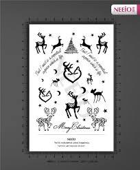 ani072 neeio merry christmas cute deer moon stars tattoo henna