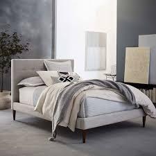 grid tufted upholstered tapered leg bed west elm
